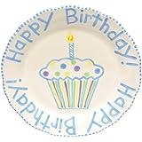 Thompson & Elm M. Bagwell Ceramic Happy Birthday Plate, Blue/White