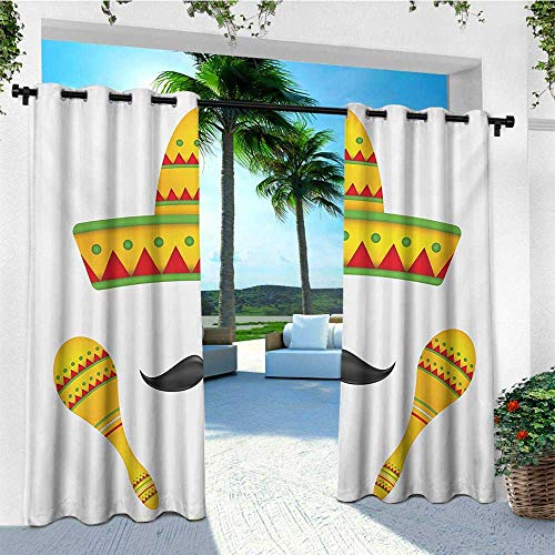 leinuoyi Mexican, Outdoor Curtain Kit, Famous Centerpiece Icons of Mexico Sombrero Moustache Rumba Shaker Mesoamerican Print, Fabric by The Yard W72 x L96 Inch Yellow