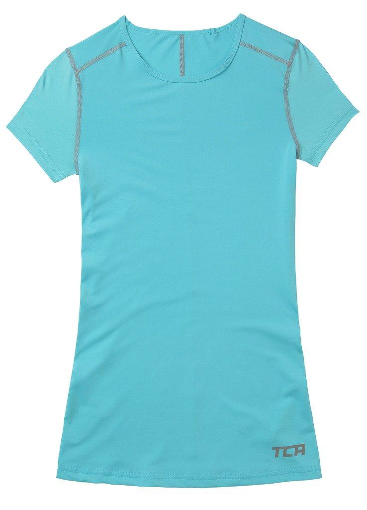 Hellblau TCA Superthermal Quickdry Damen Laufshirt//Funktionsshirt mit Rundhalsausschnitt L