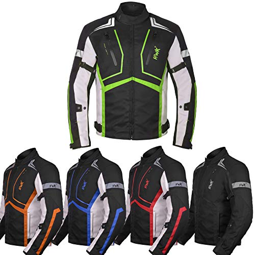 Motorcycle Jacket For Men Cordura Motorbike Racing Biker Riding Breathable CE Armored Waterproof All-Weather (Hi-Vis Green, XX-Large)