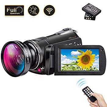 Image of 2019 Video Camera Vlogging Camera for YouTube, 1080P FHD 30FPS WiFi Full Spectrum Camcorder, Night Vision Paranormal Investigation Ghost Hunting Camera with 18X Digital Zoom (2 Batteries Included) Camcorders
