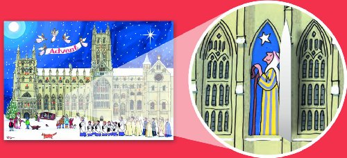 Alison Gardiner Famous Illustrator Unique Traditional Advent Calendar  - Designed in England - Festive Scene at a Cathedral by Alison Gardiner (Image #1)