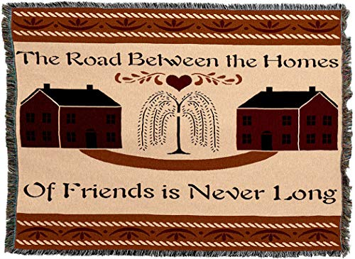 (Pure Country Weavers - Road Between Friends Woven Tapestry Throw Blanket with Fringe Cotton USA 54x69)