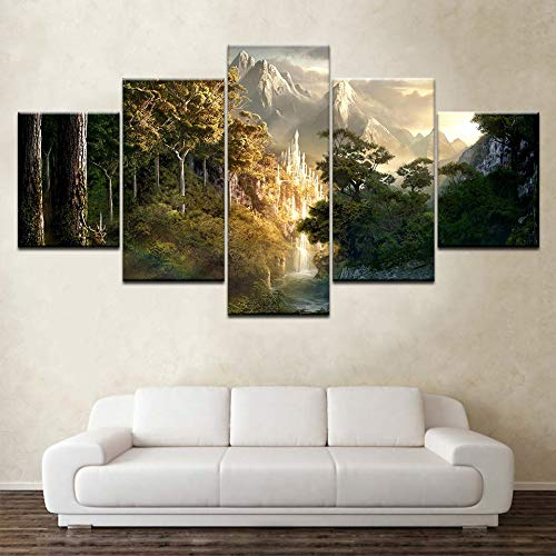 HENANFSLY The Movie Lord of The Rings 5 Pieces Wallpapers Modern Modular Poster Art Canvas Paintings for Living Room Home Decor ()
