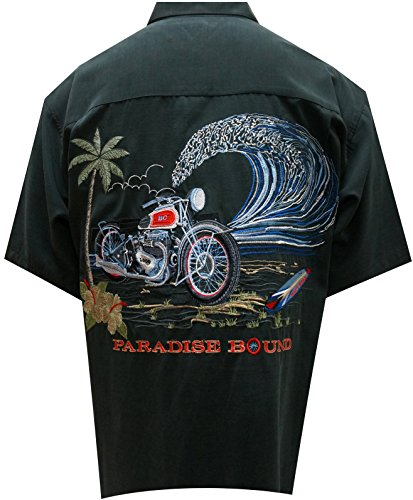 Bamboo Cay Mens Motorcycle Island, Tropical Style Resort Wear Button Front Embroidered Camp Motorcycle Shirt (2XL, Black) (Hawaiian Motorcycle Shirt)
