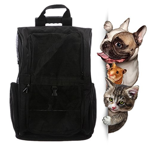 Pet Carrier Puppy Trolley Rolling Backpack Airline Approved Travel Wheels Luggage Bag for Small Cats/Dogs (Black) (Pet Carrier Luggage)
