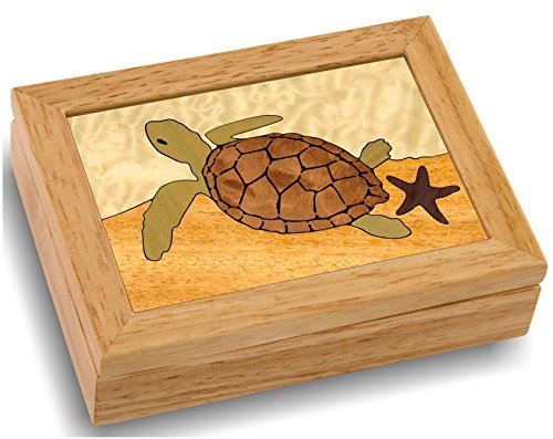 Wood Art Turtle Box - Handmade USA - Unmatched Quality - Unique, No Two are the Same - Original Work of Wood Art. A Sea Turtle Gift, Ring, Trinket or Wood Jewelry Box (#4145 Sea Turtle 4x5x1.5)