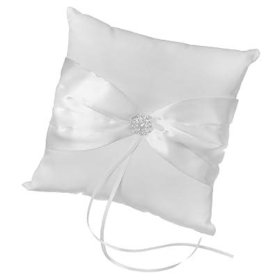 Blanco satén con lazo boda bolsillo anillo almohada cojín
