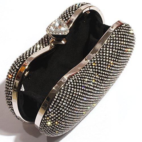Wedding Shiny Clutch Black Crystal Apple women Bags Clutch Purse Rhinestone Digabi Evening Shape AEqdwZZ