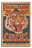 USA - Ringling Bros and Barnum and Bailey Circus (tiger head) - Vintage Advertisement (10x15 Wood Wall Sign, Wall Decor Ready to Hang)