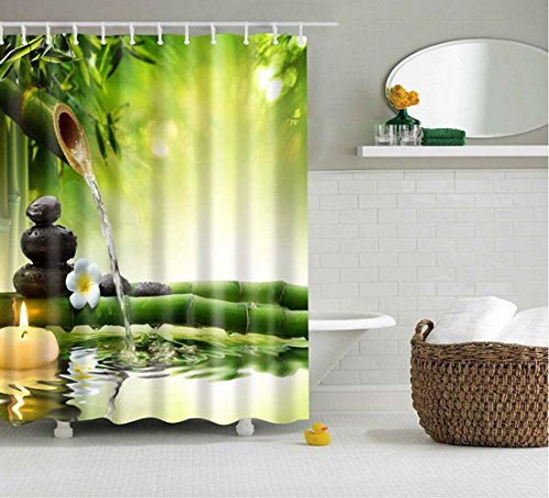 """ISEAREX Polyester Fabric Bamboo Shower Curtain Zen Decorating Ideas Natural For Bathroom 72"""" x 72"""""""