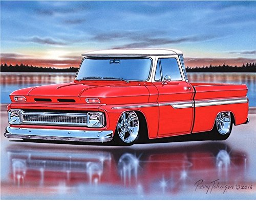Parry Johnson Art 1966 Chevy C10 Fleetside Pickup Classic Truck Art Print Red & White 11x14 Poster (Classic Chevy Old Trucks)