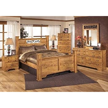 Amazon Com Ashley Bittersweet Queen Bedroom Set With Poster Bed Dresser Mirror And Nightstand