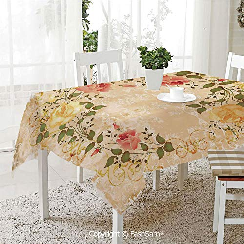 AmaUncle 3D Print Table Cloths Cover Oval Shape Floral Crown with Leaves and Roses Over Damask Motif Shabby Boho Kitchen Rectangular Table Cover (W60 xL104)