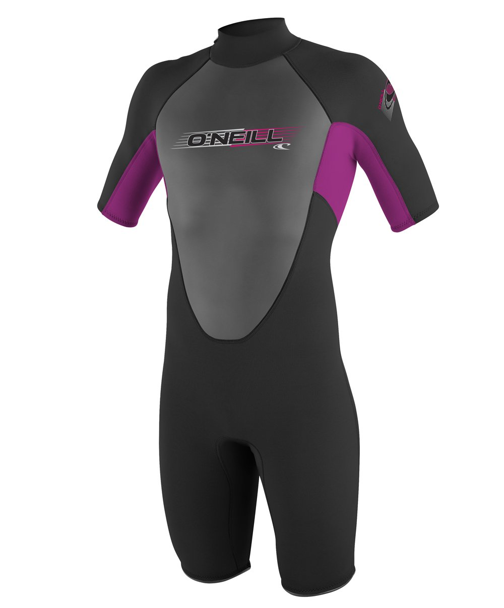 O'Neill Youth Reactor 2mm Back Zip Spring Wetsuit, Black/Pink/Black, 4 by O'Neill Wetsuits