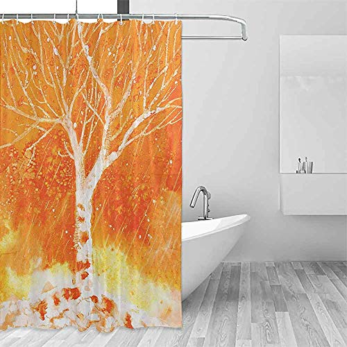 Flower Shower Curtain Fall Tree Decor Murky Original Hand Drawn Painting with Birches and Rain Drops Hazy Habitat Colorful Shower Curtains W72 xL84 Orange