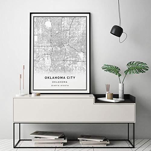 Arvier Oklahoma City map Print Scandinavian Wall Art Poster City maps Artwork Oklahoma Gifts Poster Bedroom M27 Framed Wall Art ()
