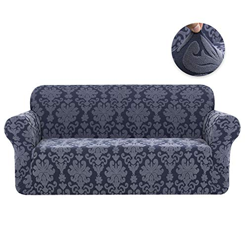 (CHUN YI 1-Piece Stretch Jacquard Damask Elegant Collection Sofa Slipcover Easy Fitted Couch Cover Stretchable Durable Furniture Protector (Loveseat, Grayish Blue))