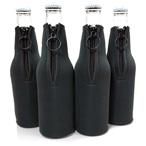 Beer Bottle Coolies Neoprene Collapsible Set Black of 4 Drink Insulators