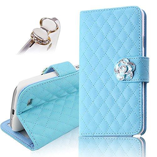 Uming Camelias Series Funda para IPhone6 IPhone6S Iphone 6 Iphone 6S con Holder para señora elegante del brillo de Bling cristal brillante flor Folio PU de la carpeta del cuero de la flor del enrejado Blue