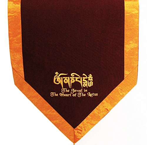 Embroidered Jewel - Altar Cloth Or Wall Hanging - Embroidered -Tibetan Jewel In The Heart of The Lotus