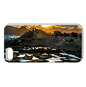 sunset over tidal pools on seacoast - Case Cover for iPhone 5 and 5S (Sunsets Series, Watercolor style, White)