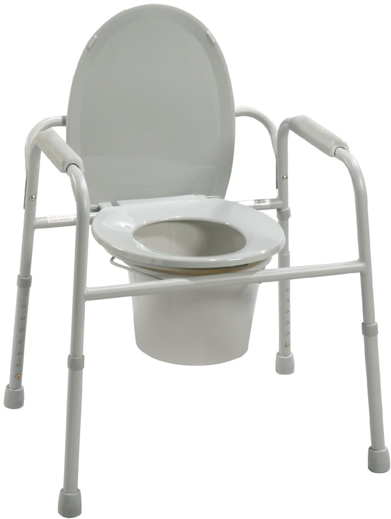 Drive Medical deluxe all in one welded steel commode with plastic armrests, deeper seat depth assembled - 1 ea, 11105N