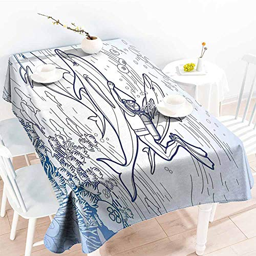 (AndyTours Washable Tablecloth,Sea Animals Sketch of Scuba Diver Holding Fin of Dolphin Over Coral Reefs Fish Underwater,High-end Durable Creative Home,W60X102L Multicolor)