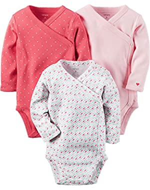 Baby Girls' 3-Pack Geo Side Snap Bodysuits