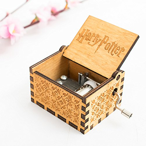 UUsave Hedwig Music Box Theme Hand Engraved Antique Carved Wooden Music Box Hand cranked Music Theme Gift (P Theme)