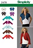 Simplicity Pattern 2478 Misses Bolero Jackets with Neckline and Sleeve Variations Size 16-18-20-22-24