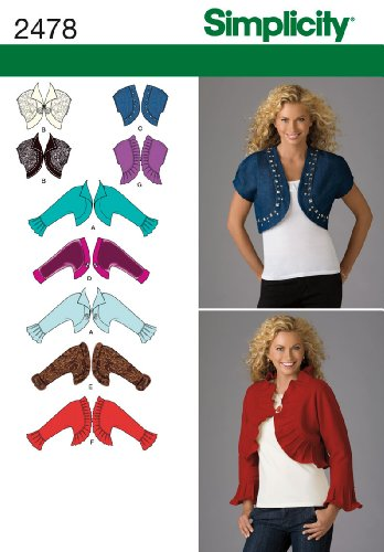 Bolero Sewing Pattern - Simplicity Pattern 2478 Misses Bolero Jackets with Neckline and Sleeve Variations Size 6-8-10-12-14