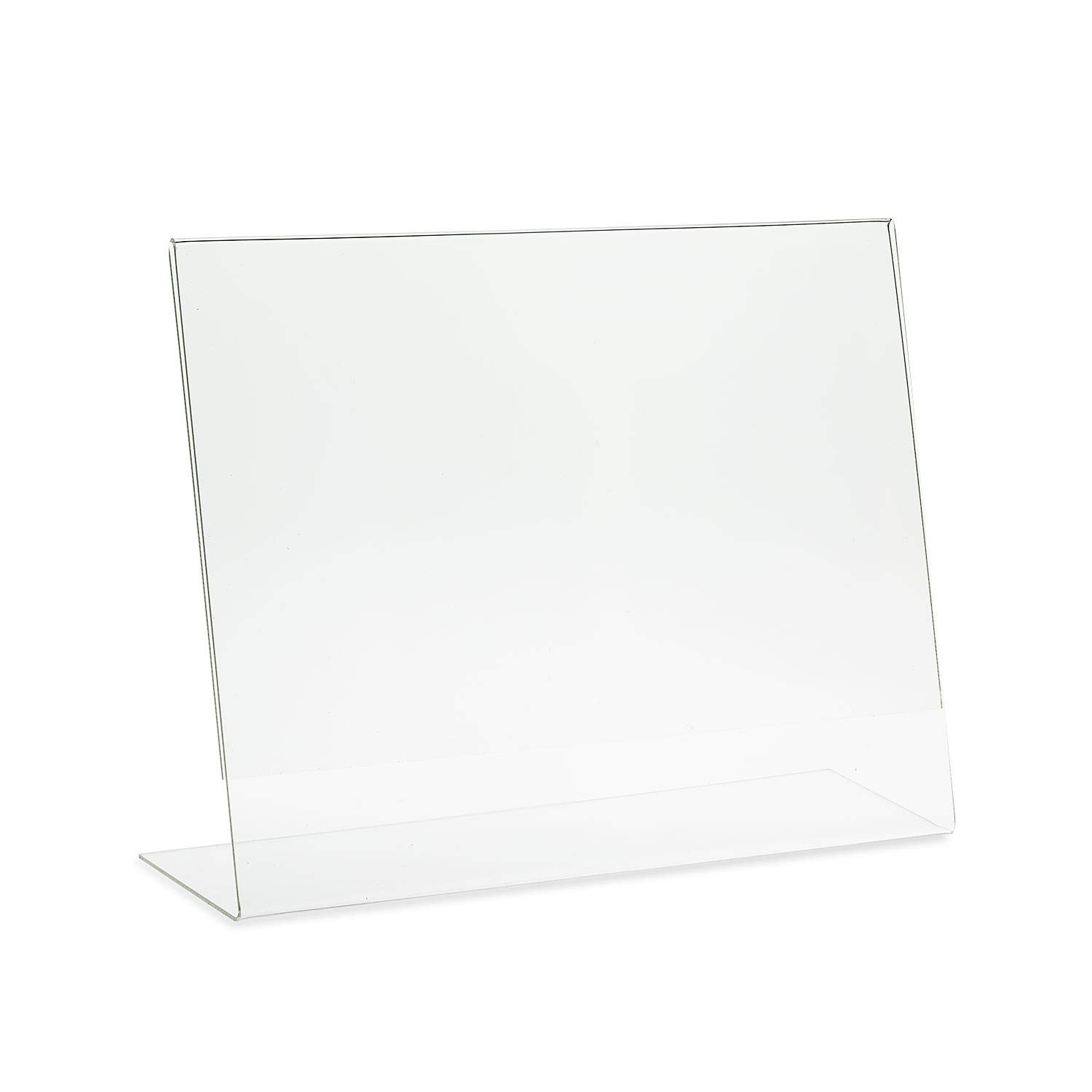 Source One Deluxe 17 Wide x 11 Tall Slant Back Clear Thick Acrylic Sign Holder - Brochure Holder (5 Pack)