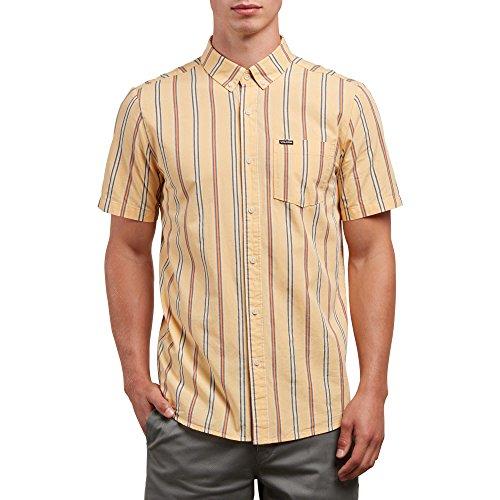 Vertical Stripe Shirt Woven (Volcom Men's Mix Bag Short Sleeve Vertical Stripe Button up Shirt)