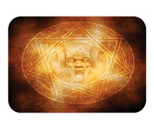 Minicoso Doormat Horror House Decor Demon Trap Symbol Logo Ceremony Creepy Ritual Fantasy Paranormal Design Orange by Minicoso
