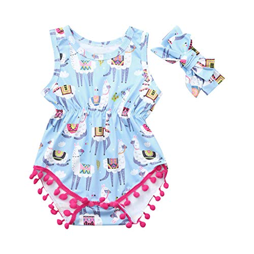 WOCACHI Toddler Baby Girls Clothes, Infant Baby Girl Kid Cartoon Printed Tassel Romper Bodysuit+Headband Outfits Se Back to School Easter Egg Costume Parade Bunny Lily Eggs Roll Basket Mother's Day ()