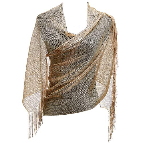 KaKaxi Sheer Glitter Sparkle Piano Shawl Wrap with Fringe Prom Weddings Evening Scarfs,1920s Gatsby Vintage Style,Metallic Beige Gold