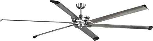 Progress Lighting Huff Collection 96-Inch 6-Blade Brushed Nickel Dual Mount Industrial Indoor/Outdoor Ceiling Fan