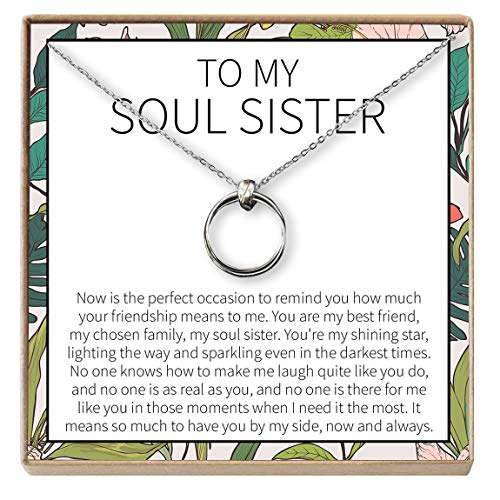 Linked Long Necklace - Dear Ava Necklace: Soul Sisters, BFF Necklace, Jewelry, Long Distance, Quotes, Friends Forever, 2 Linked Circles (Silver-Plated-Brass, NA)