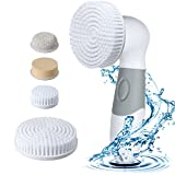 GLOWING CARE Facial Cleansing Brush - Waterproof Electric 4 in 1 Spin Brush Set For Face And Body - Deep Pore Cleaner For Acne And Exfoliates Dead Skin And Removes Blackheads - Perfect Makeup Cleanser