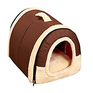 Freerun Portable Soft Sided Plush Pillowed Indoor Small Dog or Cat Convertible Pet House / Bed - Brown, M