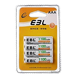 EBL Rechargeable AAA Batteries 1100mAh 1200 Cycles (4 Counts) Retail Package
