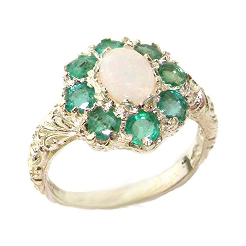925 Sterling Silver Natural Opal and Emerald Womens Cluster Ring - Sizes 4 to 12 Available by LetsBuySilver