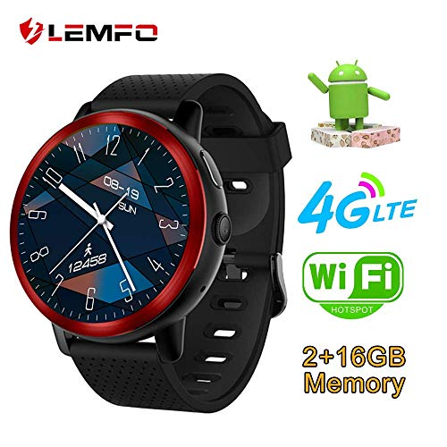 LEMFO LEM8 Smart Watch, Android 7.1.1 4G LTE, 2 MP Camera of Watch Phone, MT6739,2GB + 16GB, 580Mah Battery Bluetooth/GPS/Heart Rate Monitor for Man Woman Red