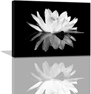 Black and White Wall Art for bathroom Lotus Flower Canvas Wall Pictures Simple Life Floral Blossom Pictures Prints on Canvas Wall Decoration for Bedroom Dorm Decorations for College Girls 12x16inch