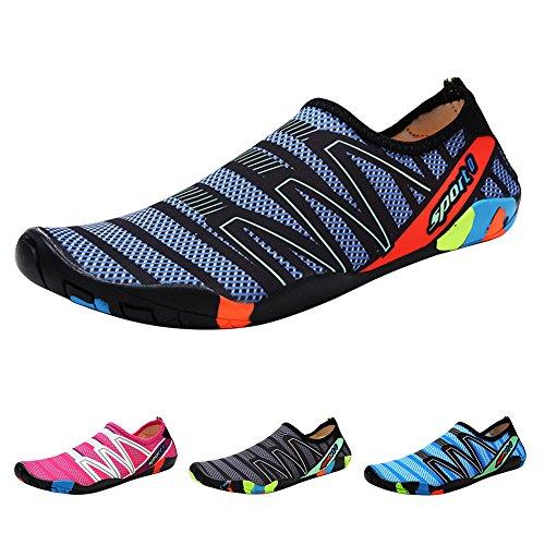 QIMAOO Barefoot Skin Shoes Water Socks, Men Women Quick Dry Water Sport Shoes, Unisex Aqua Shoes for Swim Yoga Beach Running Snorkeling Swimming Scuba Diving Strips Green