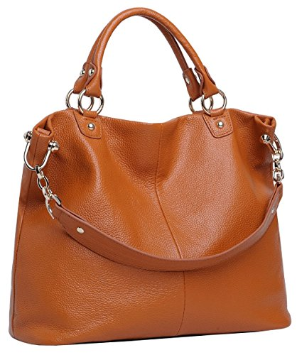 Obosoyo Fashion Women Soft Leather Top-handle Tote Shoulder Bag Brown