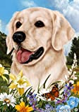Golden Retriever White – Best of Breed Summer Flowers Large Flags