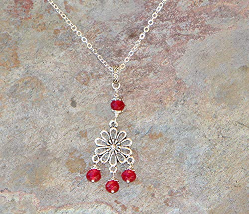 Red Jade Necklace, Red Flower Necklace, Red Necklace, Chandelier Necklace, Natural Stone Necklace, Filigree Necklace, Bohemian Necklace