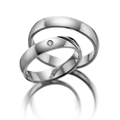 14k white gold his and her wedding rings 02 carats 4 mm - His And Her Wedding Rings